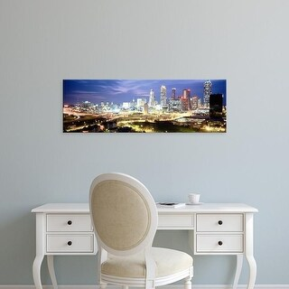 Easy Art Prints Panoramic Images's 'Buildings lit up at dusk, Atlanta, Georgia, USA' Premium Canvas Art