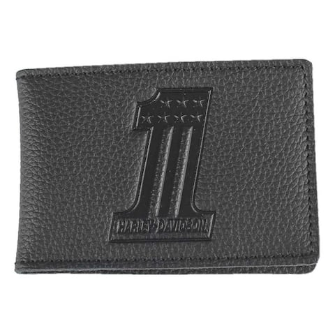 efd1299ef6e9b5 Harley-Davidson Men's Embossed #1 Logo Leather Duo-Fold Wallet XML3863-BLACK