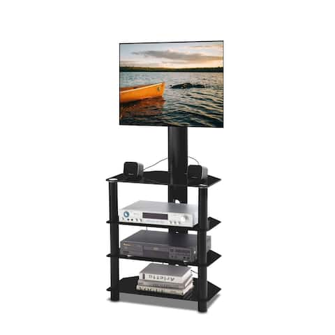 Swivel Floor TV Stand with 4 Layers Of Glass Shelf for LCD/Plasma TV BracketMultiple Media Devices up to 55Inch Black