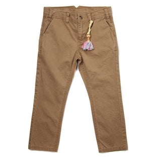 Richie House Little Boys Brown Cotton Classic Fit Chinos 3-4