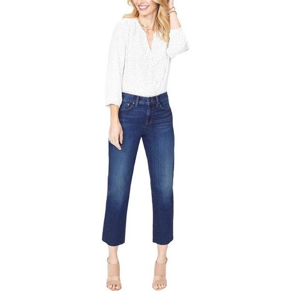 NYDJ Womens Jenna Straight Leg Jeans Raw Hem High Rise