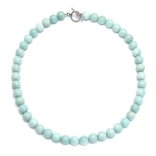Amazonite Light Aqua Blue Round Gem Stone 10MM Bead Strand Necklace For Women Silver Plated Clasp 18 Inch