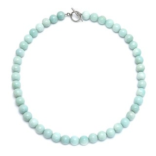 Bling Jewelry Silver Plated Round 10mm Reconsituted Amazonite Bead Necklace 18 Inches - Blue