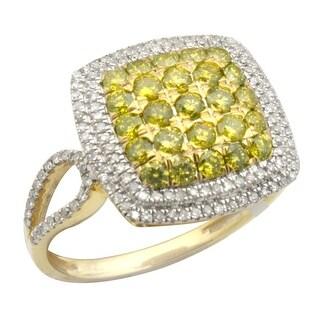 Prism Jewel 1.02Ct Yellow Diamond & Diamond Cluster Ring, 925 Silver