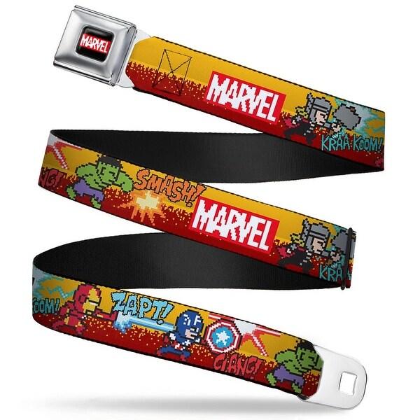 Marvel Avengers Marvel 8 Bit Logo Full Color Black Red White Marvel 4 Seatbelt Belt