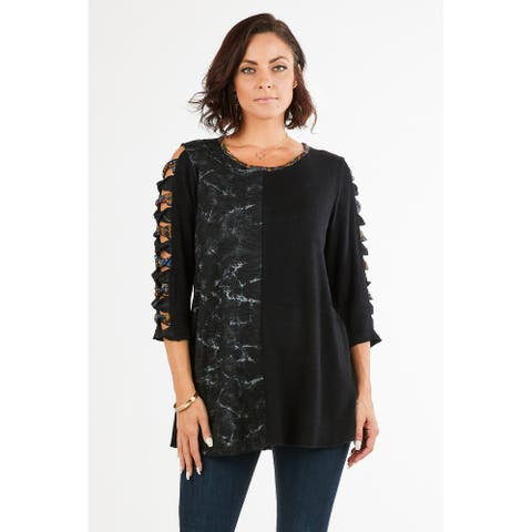 Women's Knit Patchwork Cutout Tunic Top with Round Neck