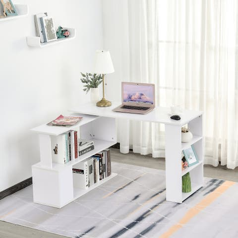 HomCom Modern L Shaped Rotating Computer Desk with Bookshelves