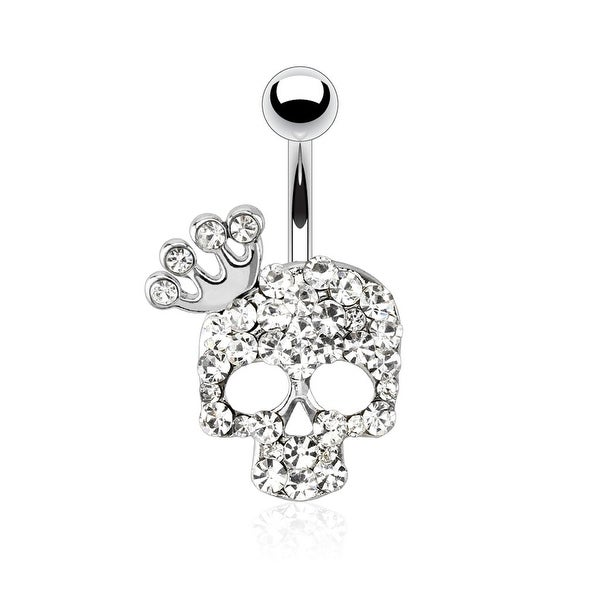 Skull with Paved Gem and Gemmed Four Point Crown 316L Surgical Steel Navel Belly Button Ring