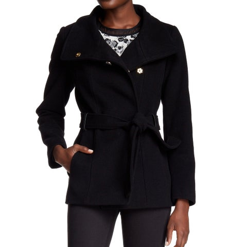 Cole Haan Black Womens Size 14 Faux Leather Buckle Belted Coat