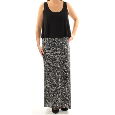CONNECTED Womens Black Printed Sleeveless Scoop Neck Maxi Shift Dress Size: 14