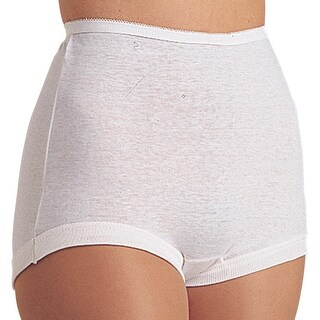 Women's Cuff Leg Comfort Band Women's 100% Cotton Briefs - Pack of 6 - White