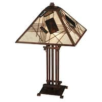 """Meyda Tiffany 131508 Magnetism 2-Light 23"""" Tall Hand-Crafted Table Lamp with Stained Glass - Mahogany Bronze - n/a"""