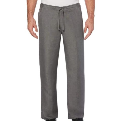 Cubavera Mens Pants Gray Size Large L Flat-Front Straight Leg Drawstring