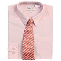 Pink Button Up Dress Shirt Dark Pink Stripe Tie Set Toddler Boys 2T-4T