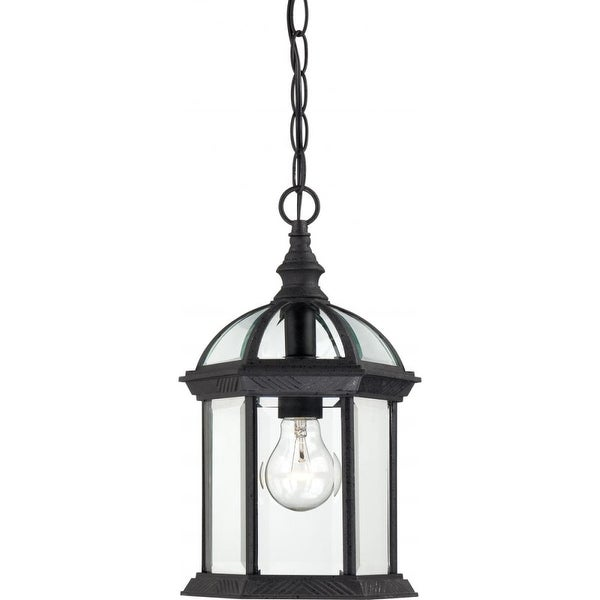 """Nuvo Lighting 60/4979 Boxwood 1-Light 8"""" Wide Outdoor Mini Pendant with Clear Glass Shade - Textured Black - N/A"""