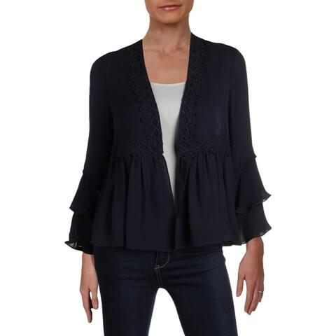 Kobi Halperin Womens Nessa Peplum Jacket Silk Ruffled