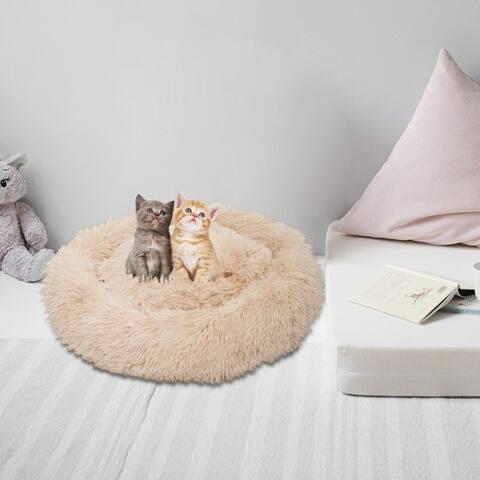 "27"" Pet Dog Cat Calming Bed Warm Soft Plush Round 3 Colors"