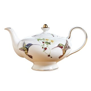 Abbott Collection Bone China Hummingbird Teapot - White with Colorful Birds and 10K Gold Accents for Tea and Coffee - 10 in.