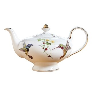 Abbott Collection Bone China Hummingbird Teapot - White with Colorful Birds and 10K Gold Accents for Tea and Coffee