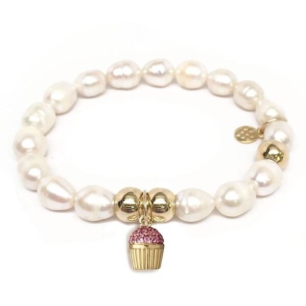Julieta Jewelry Cupcake Charm Pearl Bracelet