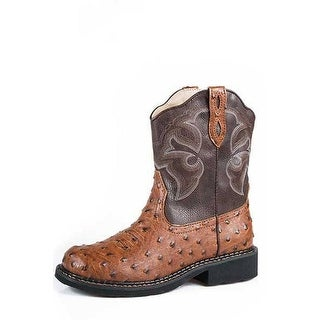 Roper Western Boots Womens Leather Ostrich Tan 09-021-1532-1418 TA