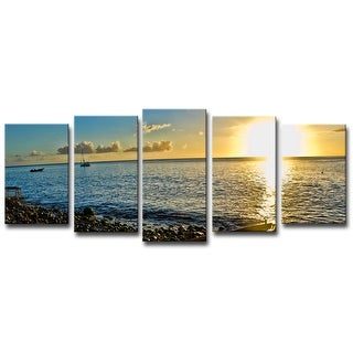 Link to Ready2HangArt 'Sunset' Coastal Wrapped Canvas Wall Art Set - Yellow Similar Items in Suits & Suit Separates