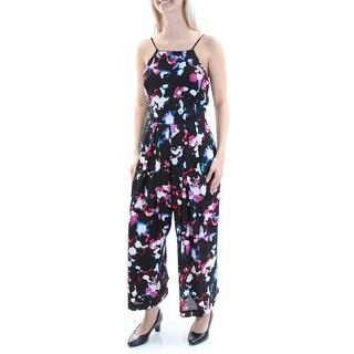 Womens Black Floral Square Neck Spaghetti Strap Jumpsuit Size 0