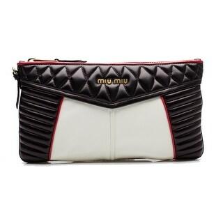 MIU MIU Women's Nappa Quilted Leather Clutch Handbag Black - S