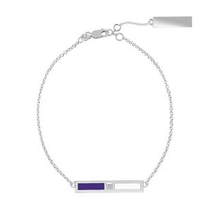 Northwestern University Sterling Silver Diamond Bar Chain Bracelet in Purple & White