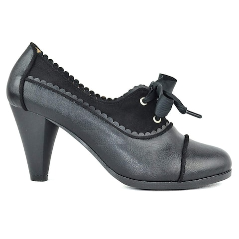 Chase & Chloe Dora-7 Lace-Up Vintage Cut-Out Women's Heeled Oxford