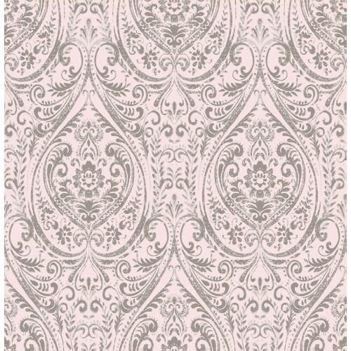 Brewster 1014-001869 Gypsy Light Pink Damask Wallpaper
