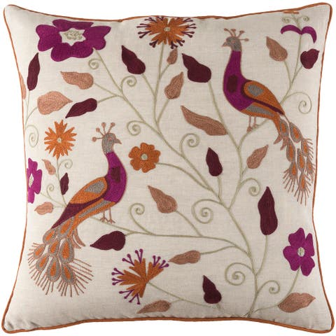 Decorative Villejuif Purple Throw Pillow Cover (20 x 20)
