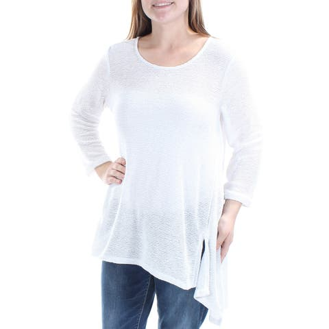 ALFANI Womens White Sheer 3/4 Sleeve Jewel Neck Trapeze Sweater Size: M