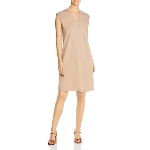 Eileen Fisher Womens Casual Dress V Neck Knit - Tan