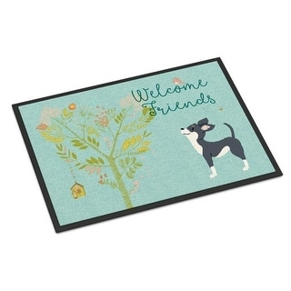 Carolines Treasures BB7627JMAT Welcome Friends Black White Chihuahua Indoor or Outdoor Mat 24 x 36 in.