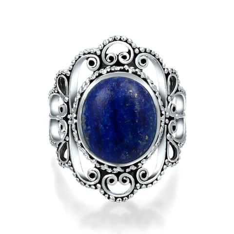 Statement Filigree Round Boho Blue Lapis Lazuli Ring Sterling Silver