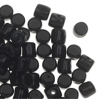 Czech Glass Minos par Puca, Cylindrical Beads 2.5x3mm, 120 Pieces, Jet Black