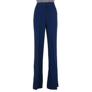 MSGM Womens Navy Pleated Wide Leg Palazzo Trousers