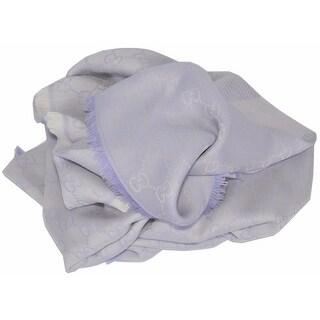 Gucci Women's 281942 XL Wool Silk Lilac GG Guccissima Scarf Shawl Wrap