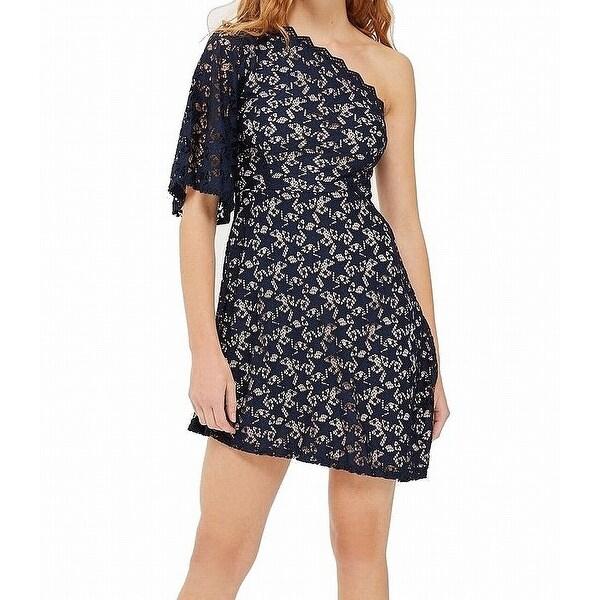 Shop Top Shop Navy Womens One Shoulder Lace Sheath Dress