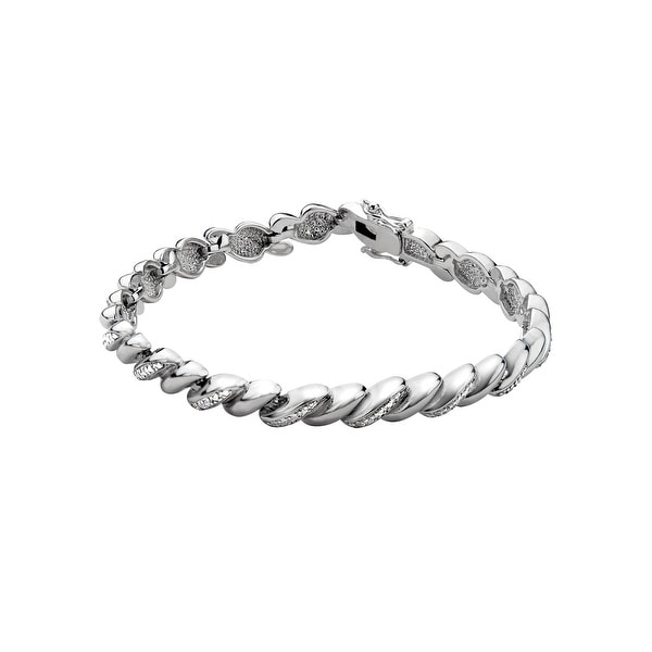 Twist Link Bracelet with Diamonds in Sterling Silver-Plated Brass