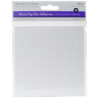 "Multicraft 3D Pop Dots Dual-Adhesive Micro Foam Adhesives-White Square, .12"" 1600/Pkg"