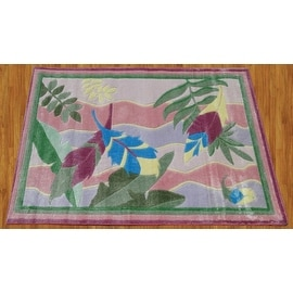 Supreme Feather Children Rug Pink Purple Green Blue Base Color Kids Rug Children's (3.3'X5' Feet)