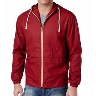Weatherproof NEW Red Mens Size XL Hooded Windbreaker Full-Zip Jacket