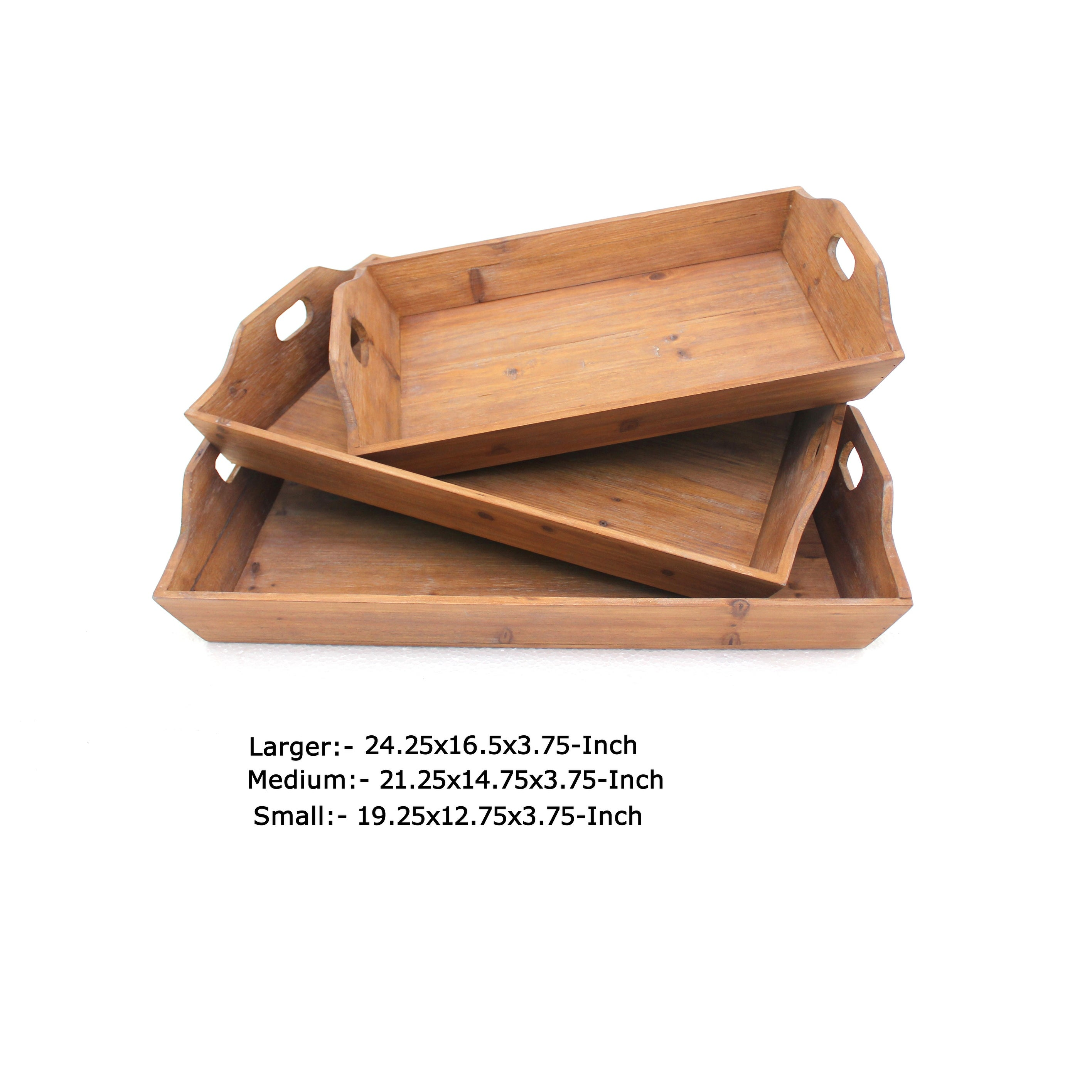 Rectangular Wooden Serving Tray With Cut Out Handles Set Of 3 Brown On Sale Overstock 31247318