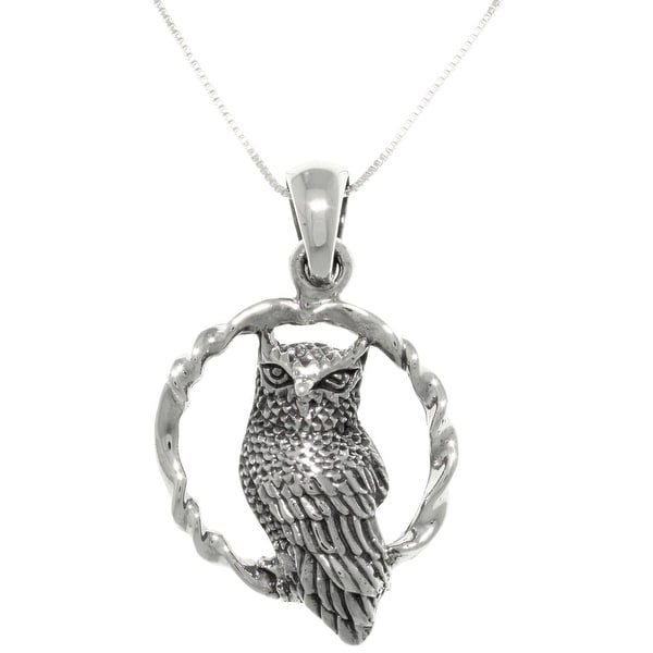 """Wise Owl Bird on Round Swing Sterling Silver Pendant Necklace 18"""". Opens flyout."""