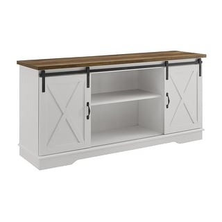 """Delacora WE-BD58SBDS  58"""" Wide Laminate Farmhouse TV Stand with Barn Style Sliding Doors"""