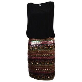 Betsy & Adam Women's Multi Sequined Blouson Dress