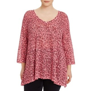 Nally & Millie Womens Plus Casual Top Knit Marled