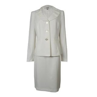 Le Suit Women's Palm Beach Pleated Lapel Skirt Suit